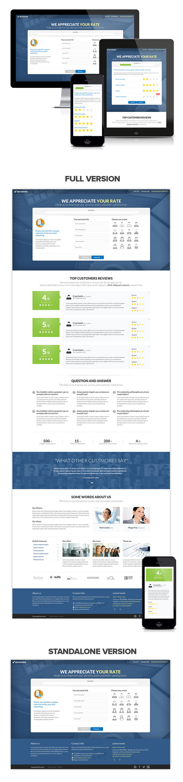 comments form wizard rate rating registration review signup survey wizard site template Website