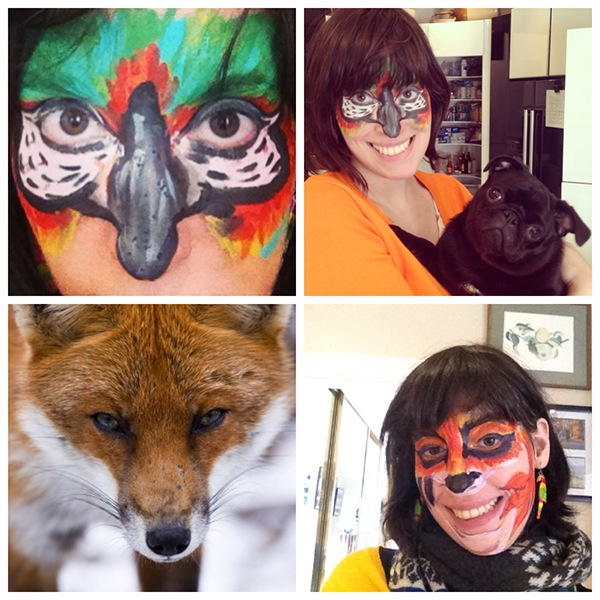 Face Painting Parrot And Fox