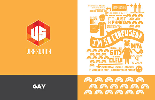 stereotypes racism LGBT sexism Experiential design social media interactive campaign infographic identity poster humor pattern shape funny