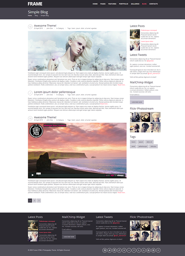 Frame Photography Responsive Website Template on Behance