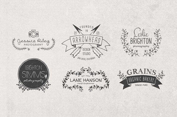 Hand drawn logo templates elements on behance