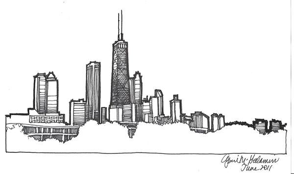 Chicago Skyline Drawings Chicago Skyline Drawing on