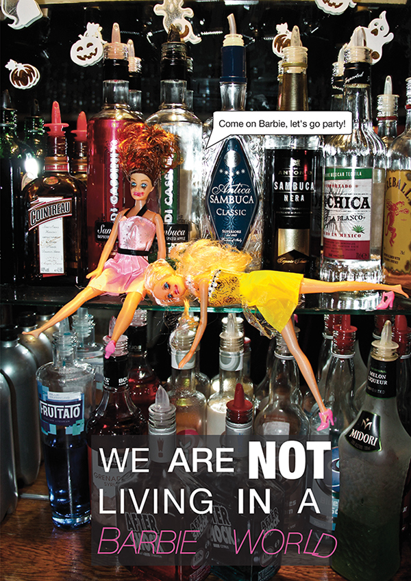 alcohol awareness lisa guhl barbie wasted drunk nuts wiener auntie Mum children song barbie world campaign bradford college