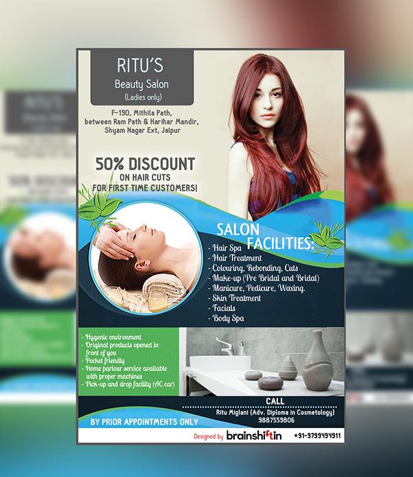 Ritu 39 s beauty salon flyer design on behance for Beauty project ideas