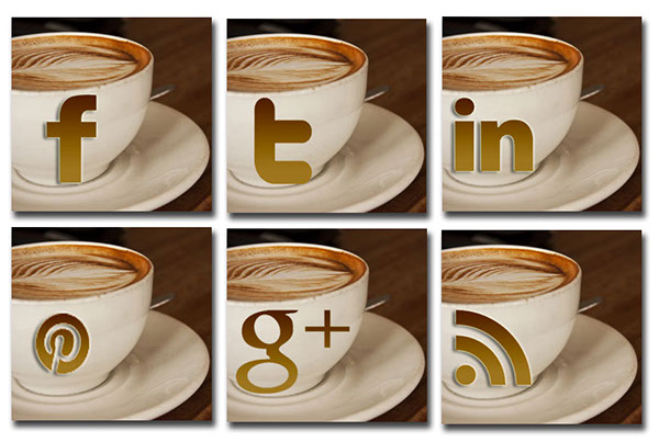 Coffee and Social Media Icons