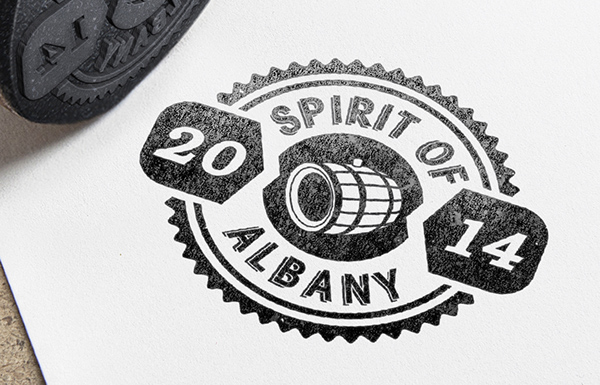 spirit Albany cocktails recipe guide stamp tent card