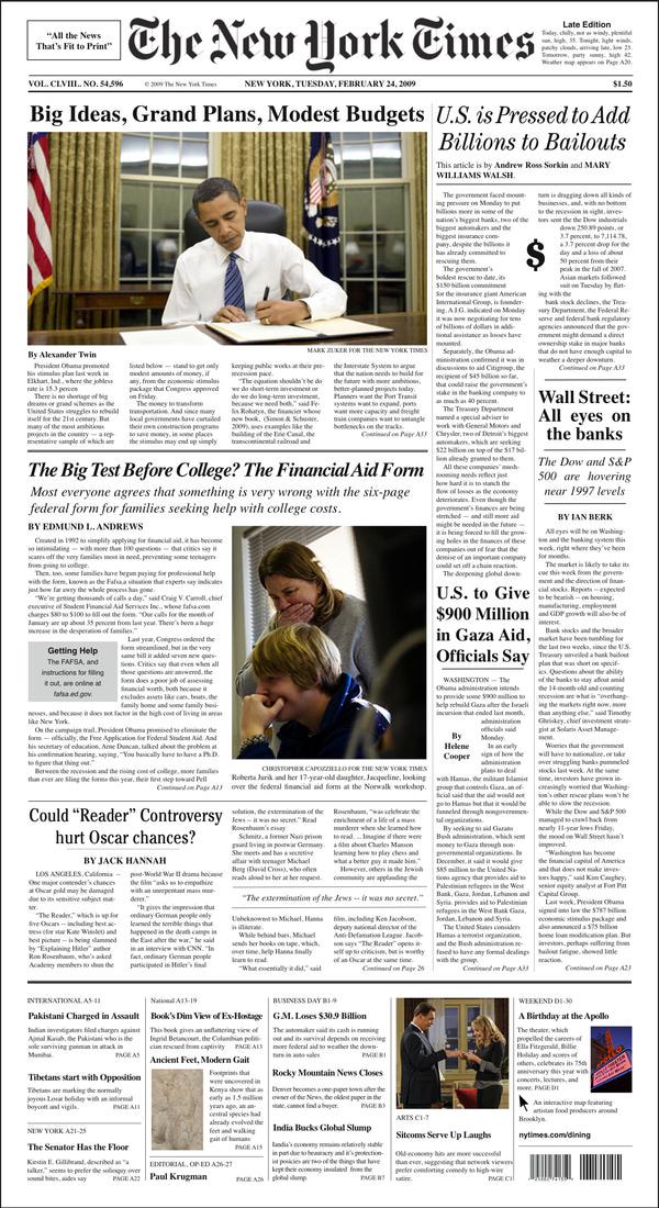 New Layout New York Times Two Page Layout