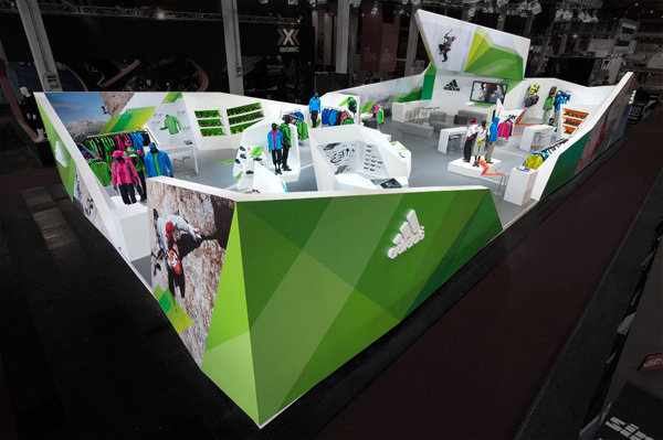 Adidas Outdoor trade show booth on Behance
