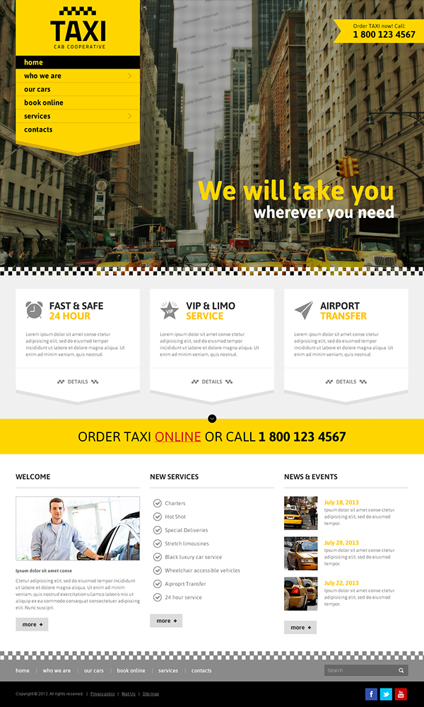 Taxi Cab Cooperative Service Bootstrap HTML Template on Behance