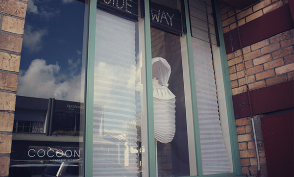 Cocoon Wearable sculpture Isolation installation Exhibition  Pleats folds Tessellation plastic fabric hide