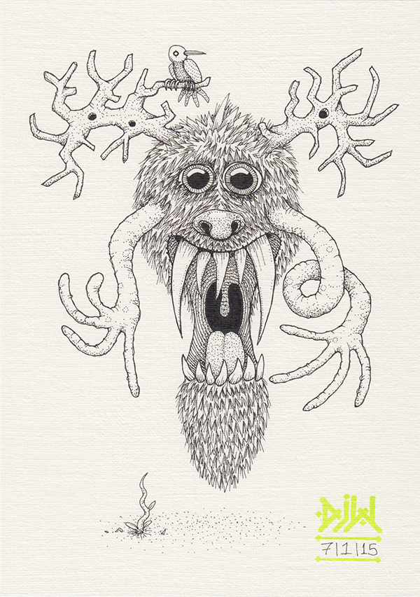 antlers bird fangs hairy ink monster demon Magic