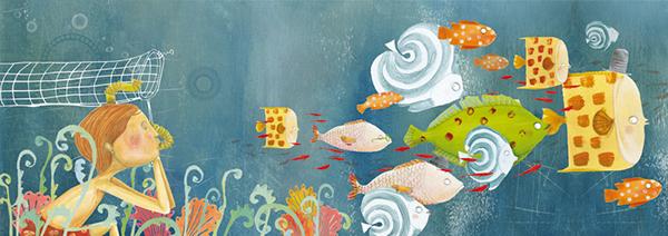 Picture book  Children's book  book  narrative  sea  Environment  nature  water  fish   blue  yellow  boy  child  boat