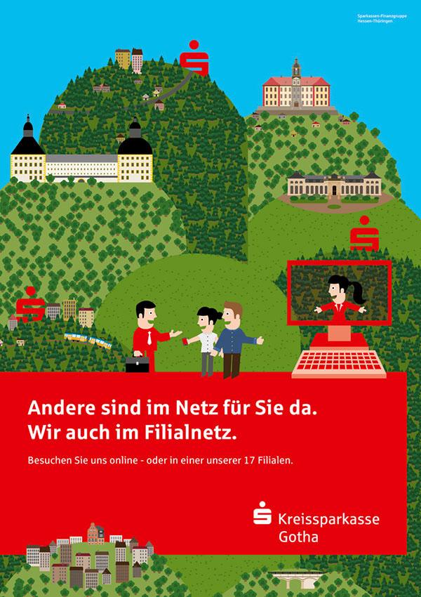 Sparkasse Kampagne Plakate Kreissparkasse Gotha Filialplakate Regionen thüringen