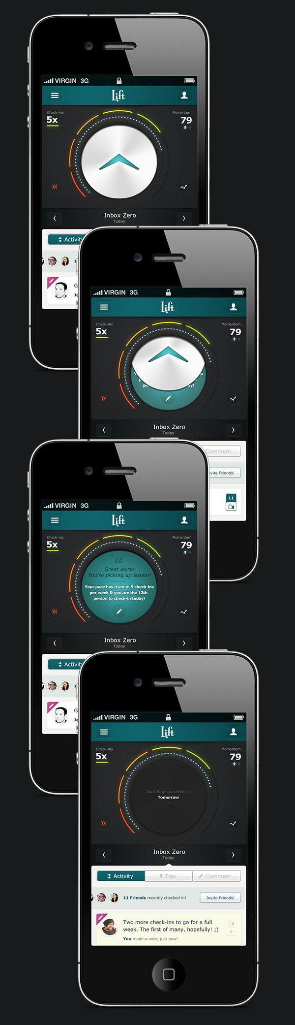 lift app iphone UI ux product habits design Interface visual