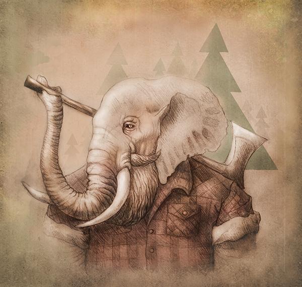 elephant,lumberjack