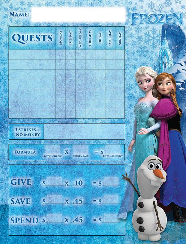 Frozen Themed Chore Chart For Children On Behance