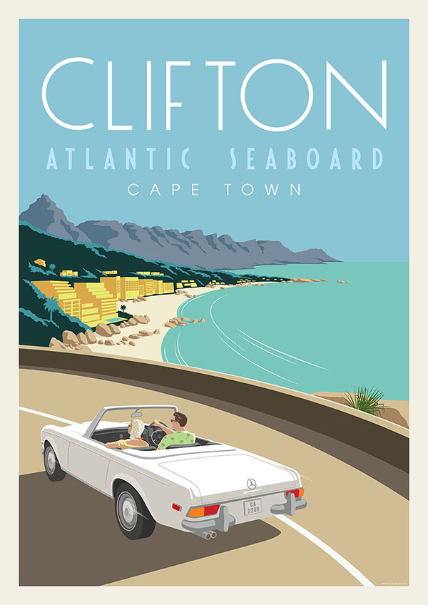 Clifton cape town retro poster series on behance