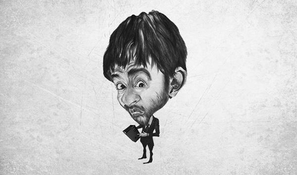 pencil illustrations Self caricature
