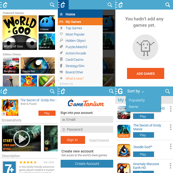 application games catalog development