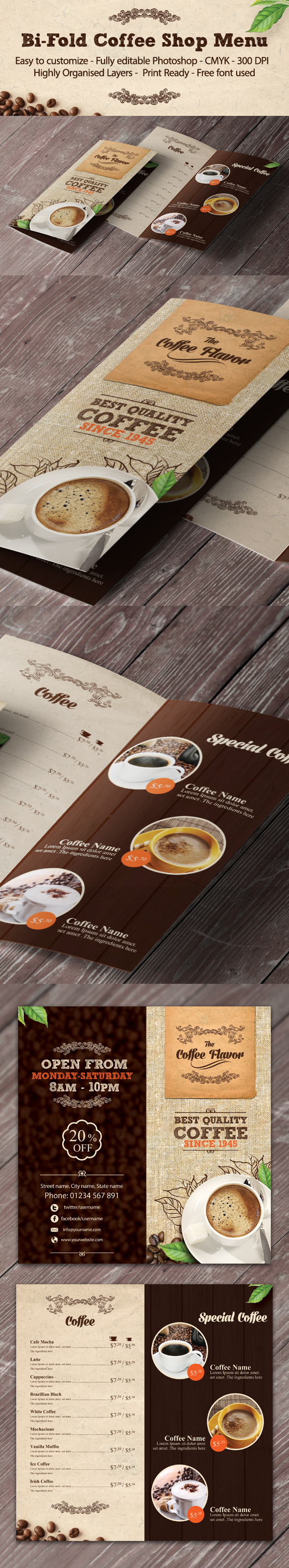 print template menu ccoffee   cafe restaurant graphic river flyer best brochure brown cafeteria cappucino coffee shop