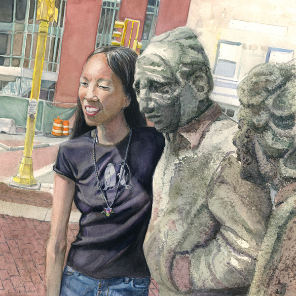 Statues of Davis Square Somerville ma mbta Somervlle Arts Council watercolor sea salt Davis Square