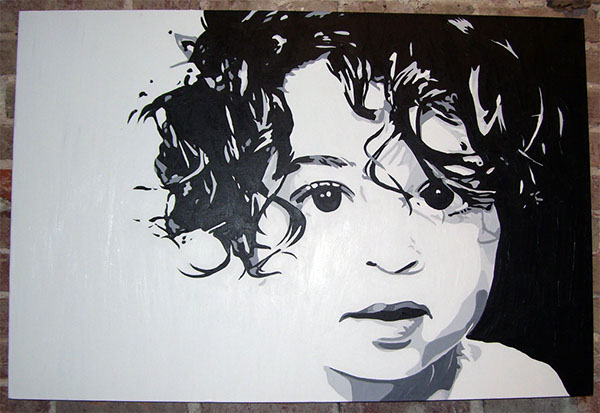 Curly acrylic painting 24 x 36 on behance for White and black paintings