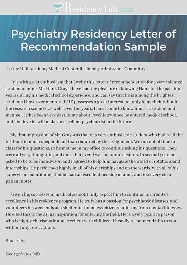 psychiatry residency letter of recommendation sample on pantone canvas gallery
