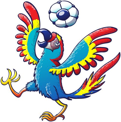 Colorful macaw bouncing a soccer ball on its head