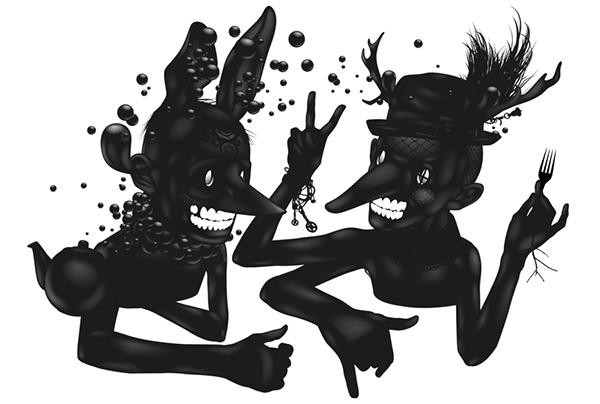 ustsinau black and white black world  rabbit  glossy