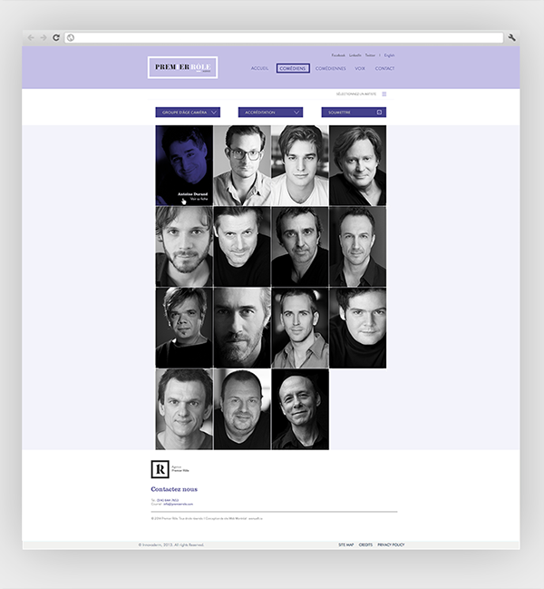 agency Movies actor actress purple black and white monogram typography design photo Montreal