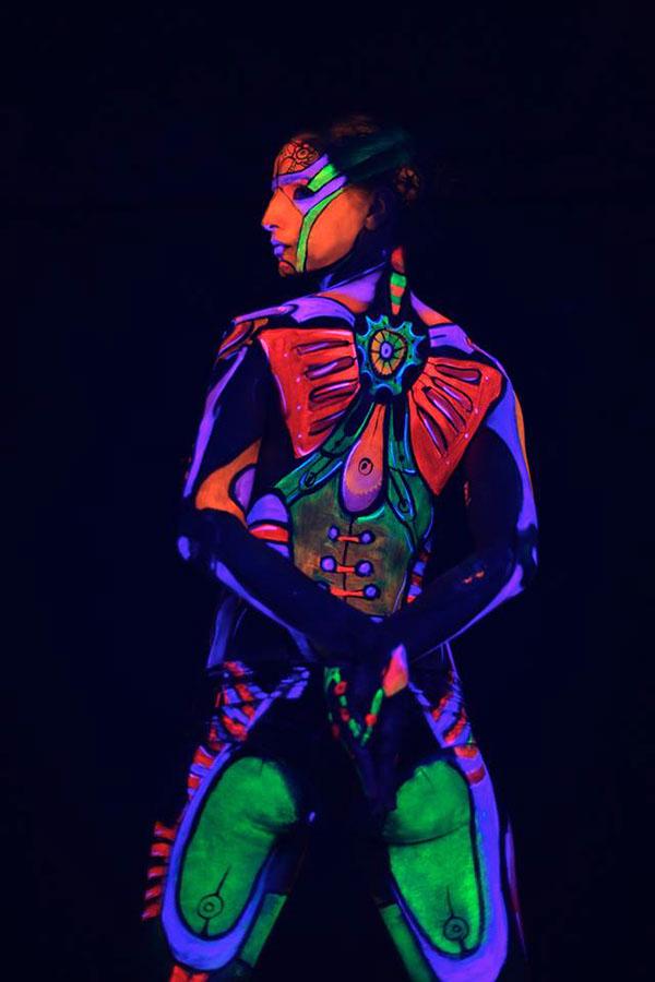 Uv Robots Blacklight Bodyart For Promo Video On Behance