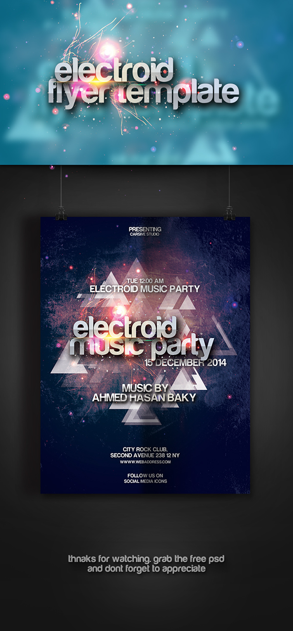 flyer print freebie template Electroid party poster effect photoshop design