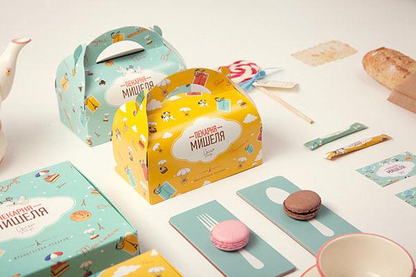 backery yellow dog Fun france Paris sweet identity baguette croissant bulldog box card corporate