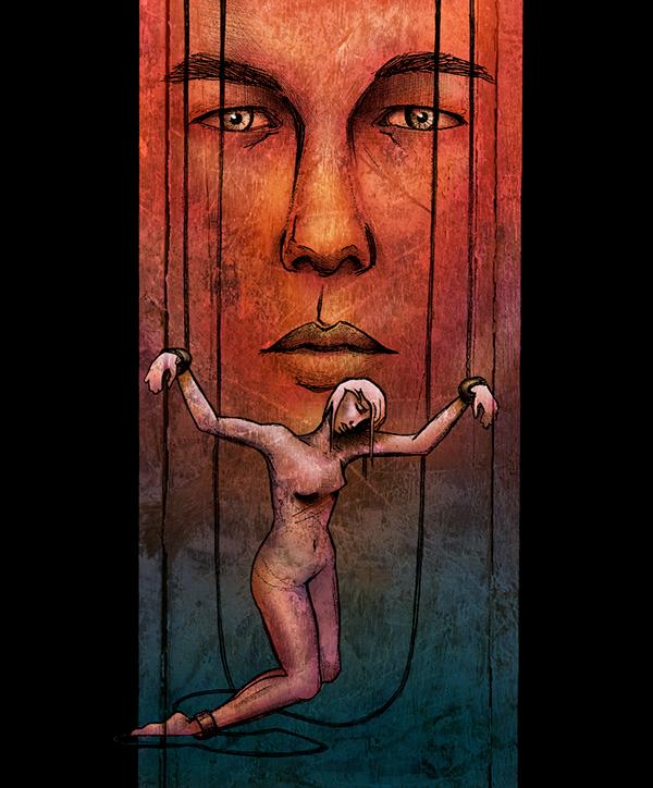 marionette, chains, Enslaved, portraiture