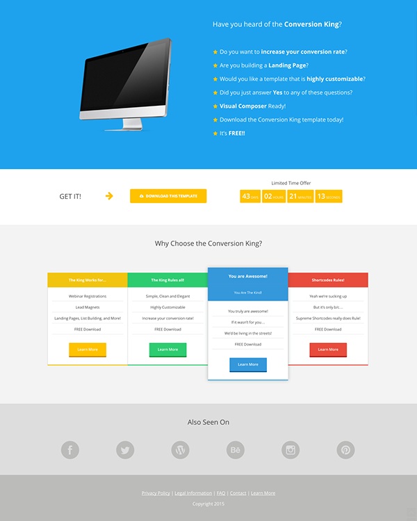 Conversion King Landing Page - FREE Shortcodes Template