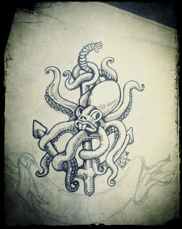 Anchor Octopus Drawing Octopus Anchor...640 x 640