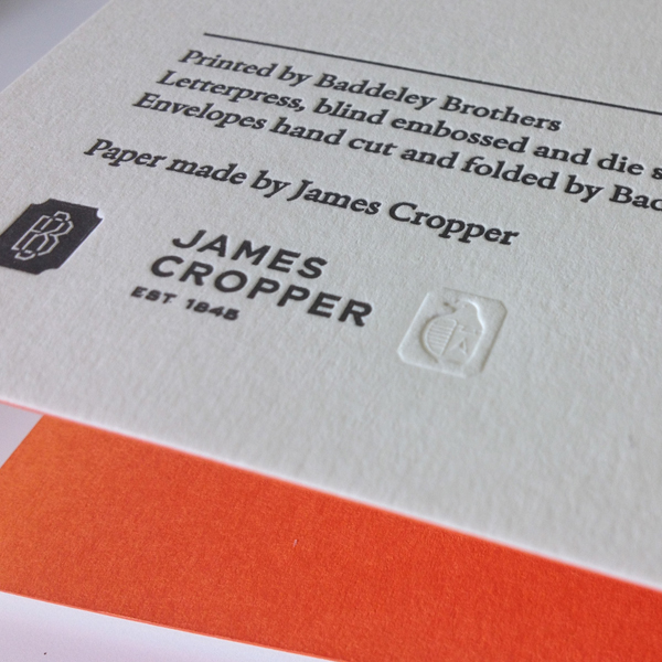The Cropper Logo Itself Was Blind Embossed And Wallpaper Asterisk Die Cut To Show Contrasting Duplexed Stock