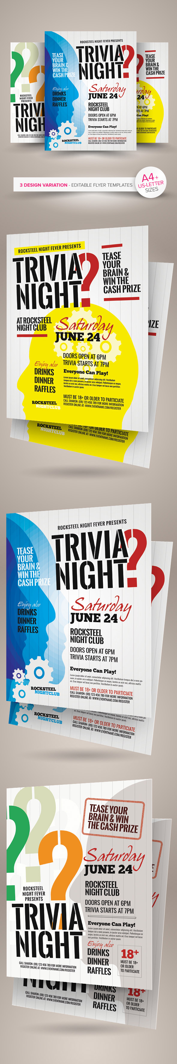 trivia night flyer templates on behance trivia night flyer templates are design templates created for on graphic river more info of the templates and how to get the sourcefile can be found