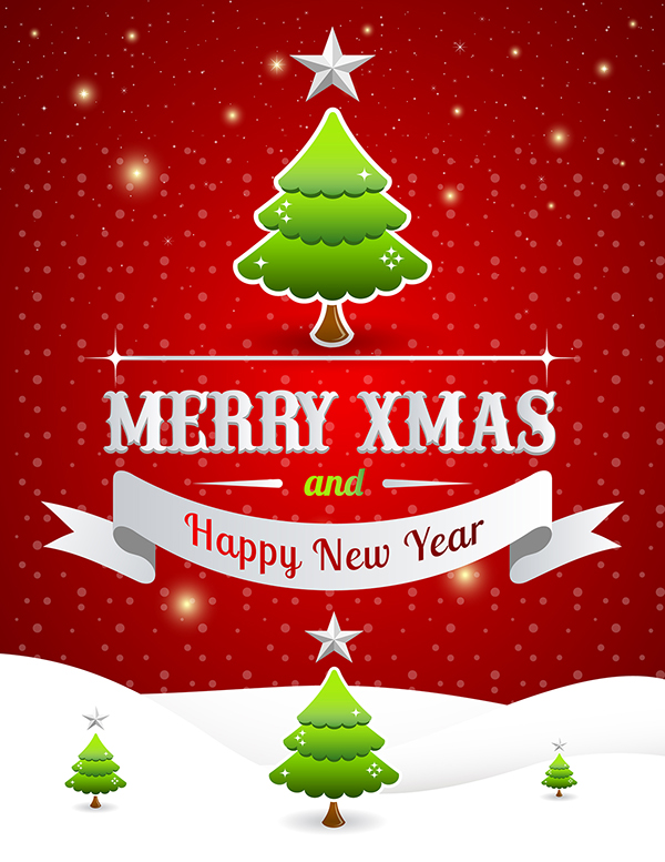 Free Merry Christmas  Happy New Year Poster Template  On Behance