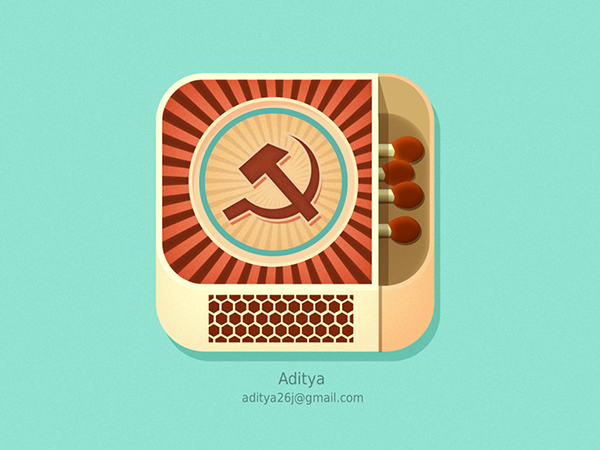 ios flat app Icon subtle texture new iPad iphone cool awesome Matchbox matchstick fire