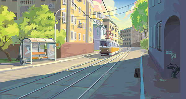 neresta kids law cartoon Cat city life doodle Fun Layout background visual development