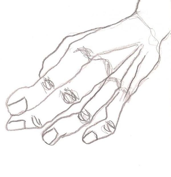 hands pencil paper coloured pencil