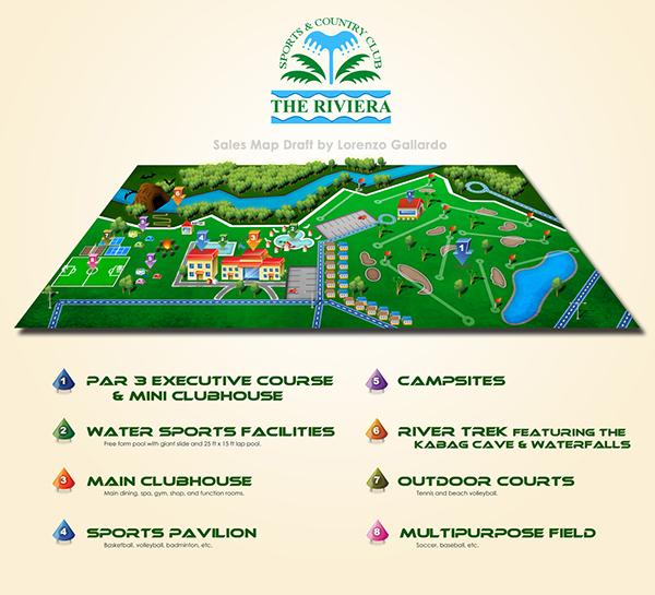 the riviera sports and country club location map on behance. Black Bedroom Furniture Sets. Home Design Ideas