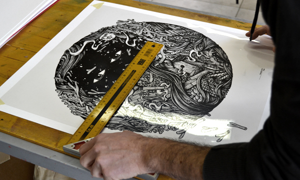 silkscreen face streetart ink art graphic FINEART black White print