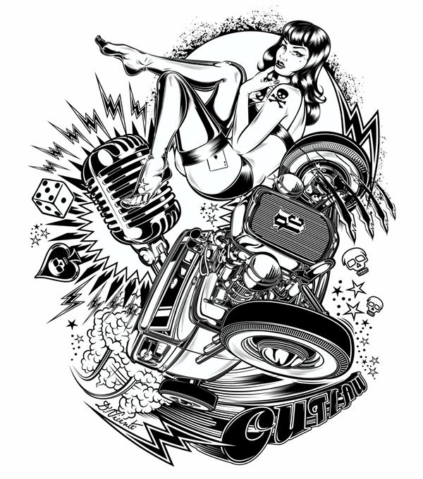 E D F E Fd on V8 Engine Cartoon Drawing
