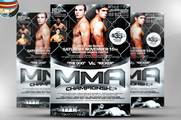 MMA Flyer Template Is A Premium Photoshop PSD Flyer / Poster Template  Designed By FlyerHeroes To Be Used With Photoshop CS4 And Higher.