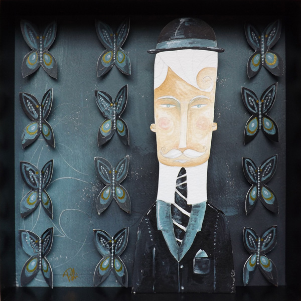 portrait  butterfly  blue  dark  man  hat  tie  wallpaper Melancholy collage