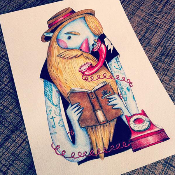 Hipster bearded beard pencil watercolors tattoo ink