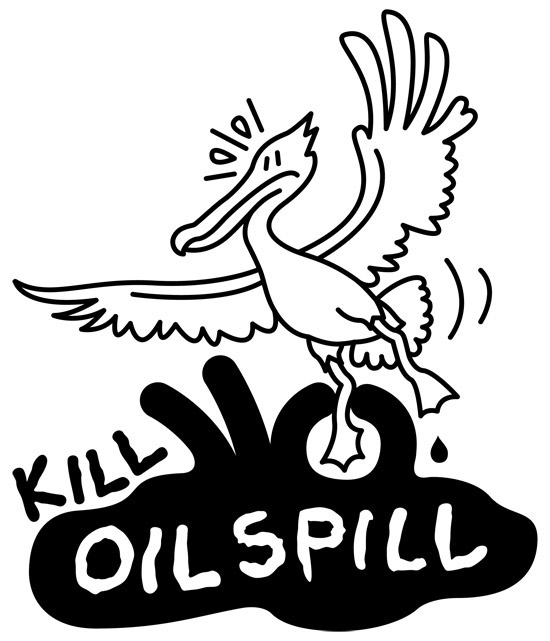 Sea pelican being trapped by an oil slick