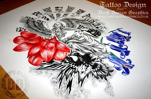 Columbus Custom Tattoo Designs: A Skeleton Angel Custom Tattoo Design On Behance
